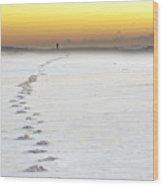 Footprints To Sunrise Wood Print by Vicki Jauron
