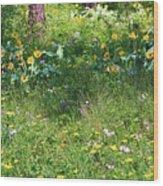 Forest Flowers Landscape Wood Print by Carol Groenen