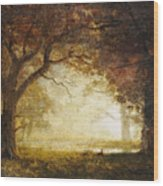 Forest Sunrise Wood Print by Albert Bierstadt