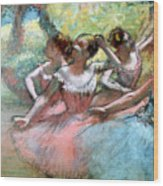 Four Ballerinas On The Stage Wood Print by Edgar Degas