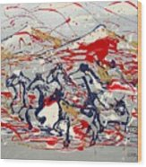 Freedom On The Open Range Wood Print by J R Seymour