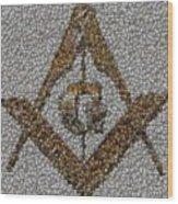 Freemason Coin Mosaic Wood Print by Paul Van Scott