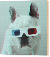 French Bulldog With 3d Glasses Wood Print by Retales Botijero