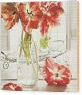 Fresh Spring Tulips In Old Milk Bottle  Wood Print by Sandra Cunningham