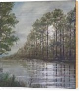 Full Moon On The River Wood Print by Kathleen McDermott