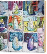 Funny Eggs Wood Print by Mindy Newman