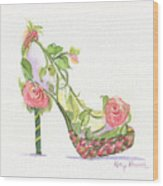 Garden Shoe Wood Print by Kathy Nesseth