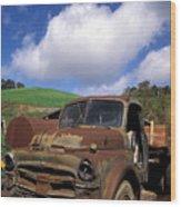 Garrod's Old Truck Wood Print by Kathy Yates