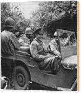 General Eisenhower In A Jeep Wood Print by War Is Hell Store