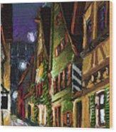 Germany Ulm Old Street Night Moon Wood Print by Yuriy  Shevchuk