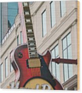 Gibson Les Paul Of The Hard Rock Cafe Wood Print by DigiArt Diaries by Vicky B Fuller