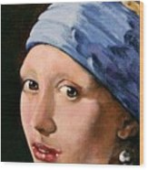 Girl With A Pearl Earring A Reproduction Of Vermeer Wood Print by Joan Garcia