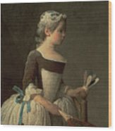 Girl With Racket And Shuttlecock Wood Print by Jean-Baptiste Simeon Chardin