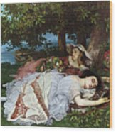 Girls On The Banks Of The Seine Wood Print by Gustave Courbet