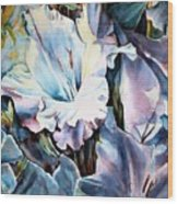 Glads White  Wood Print by June Conte  Pryor