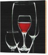 Glass Of Wine In Glass Wood Print by Tom Mc Nemar