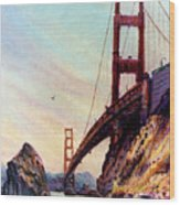 Golden Gate Bridge Looking South Wood Print by Donald Maier