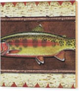 Golden Trout Lodge Wood Print by JQ Licensing