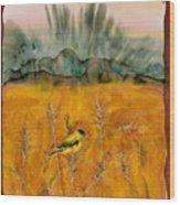 Goldfinch In The Wheat Wood Print by Carolyn Doe