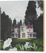 Gothic Country House Detail From Night Bridge Wood Print by Melissa A Benson