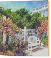 Grand Hotel Gardens Mackinac Island Michigan Wood Print by Betsy Foster Breen