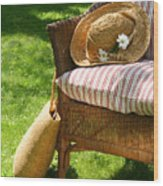 Grass Lawn With A Wicker Chair  Wood Print by Sandra Cunningham