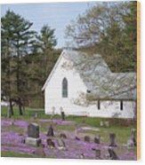 Graveyard Phlox Country Church Wood Print by John Stephens
