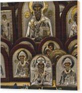 Greek Orthodox Church Icons Wood Print by David Smith