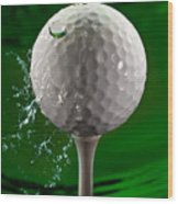 Green Golf Ball Splash Wood Print by Steve Gadomski