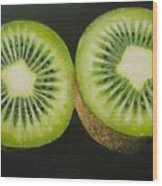 Green Kiwi Oil Painting  Wood Print by Natalja Picugina