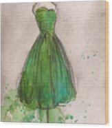 Green Strapless Dress Wood Print by Lauren Maurer
