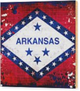 Grunge Style Arkansas Flag Wood Print by David G Paul