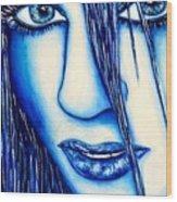 Guess U Like Me In Blue Wood Print by Joseph Lawrence Vasile