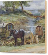 Gypsy Encampment Wood Print by John Atkinson