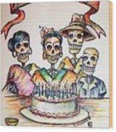 Happy Birthday Woman Skull Wood Print by Heather Calderon