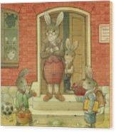 Hare School Wood Print by Kestutis Kasparavicius
