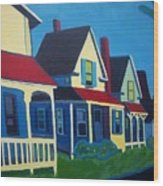 Harpswell Cottages Wood Print by Debra Robinson