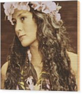 Hawaiian Wahine Wood Print by Himani - Printscapes