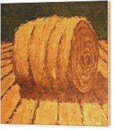 Haybale Wood Print by Jaylynn Johnson