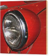 Headlamp On Antique Fire Engine Wood Print by Douglas Barnett