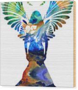 Healing Angel - Spiritual Art Painting Wood Print by Sharon Cummings