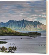 He'eia Fish Pond And Kualoa Wood Print by Dan McManus