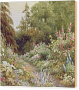 Herbaceous Border  Wood Print by Evelyn L Engleheart