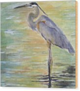 Heron At The Lagoon Wood Print by Patricia Pushaw