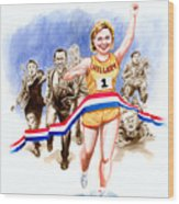 Hillary And The Race Wood Print by Ken Meyer jr