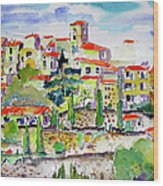 Hillside Village In Provence Wood Print by Ginette Callaway