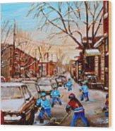 Hockey Gameon Jeanne Mance Street Montreal Wood Print by Carole Spandau