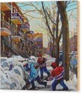 Hockey On De Bullion  Wood Print by Carole Spandau