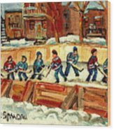 Hockey Rinks In Montreal Wood Print by Carole Spandau