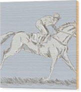 Horse And Jockey Wood Print by Aloysius Patrimonio